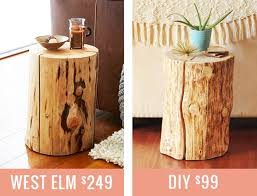 How To Make a Natural Tree Stump Side Table // JustineCelina.com