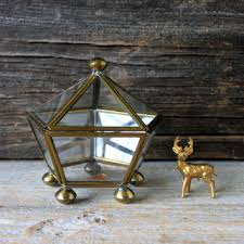 vintage brass and glass box curio cabinet miniature glass dis