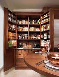 image of oak kitchen pantry cabinets wood with wooden dining table
