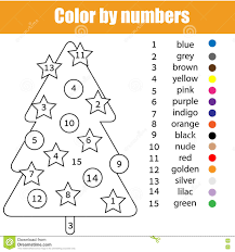 Coloring Page With Christmas Tree Color By Numbers Stock Vector