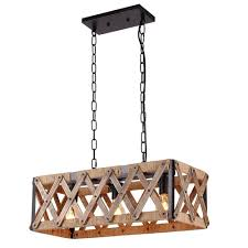 Anmytek Square Metal and Wood Chandelier Basked Pendant Three Lights Oil  Black Finishing Rope Net Lamp