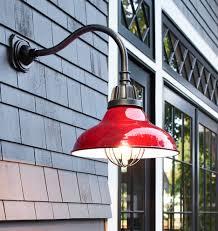 image of red gooseneck outdoor lighting fixtures