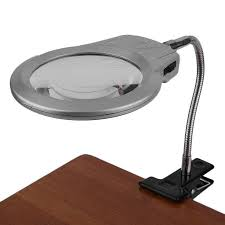 Clip <b>Type</b> Metal LED Light Lamp <b>Magnifier</b> 2x <b>5x Magnifying</b> Glass ...