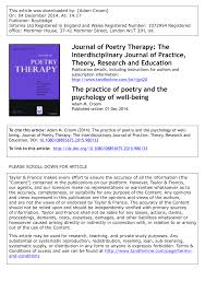 Pdf The Practice Of Poetry And The Psychology Of Well Being