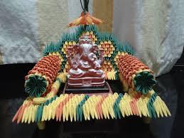ecofriendly ganapati decoration miniature paper craft