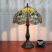 tiffany table lamps style vintage simple artistic stained glass dragonfly desk study room bedroom bedside