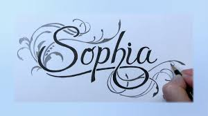 How To Draw Sophia In Fancy Swirly Letters With Pencil And