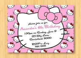 Word Template For Birthday Invitation Hello Kitty Birthday Invitations Birthday Party Invitation