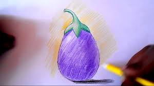 How To Draw And Shade Brinjal Step By Step