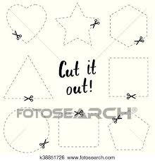 Dotted Line Template Clip Art Of Cut It Out Flat Template The Scissors Icon Cut Here