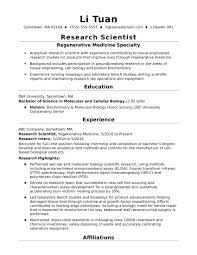 Entry Level Research Scientist Resume Sample Monstercom