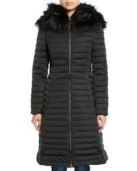 refined puffer coat w faux fur hood