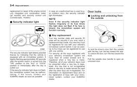 Engine Immobilizer System Indicator Light Subaru Outback Manuals 2011 Outback Owners Manual