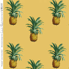 designer upholstery curtain fabric vintage tropical pineapple cotton