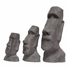 easter island head garden ornaments stone look fibreclay moai tiki sculptures