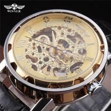 best skeleton watches men online shopping the world largest best winner best price new leather mechanical watch men gold color skeleton dress wristwatch transparent steampunk relogio