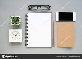 items for office desk. Table Top View Of Office Desk With Stationery Items \u2014 Stock Photo For P