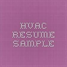 hvac resume sample hvac technician sample resume