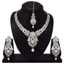 details about new indian bollywood fashion silver plated diamond necklace earrings jewelry set