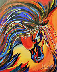 crazy horse painting flame bold and colorful war horse by janice rae pariza