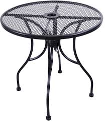 h d commercial seating mt30r 30 black wrought iron outdoor mesh top round table w umbrella hole