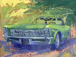 a green 1965 buick riviera general motor s personal luxury muscle car sits in an abstracted