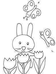 Un Coniglietto E Delle Farfalle Stampa E Colora Gratis Disegni Da