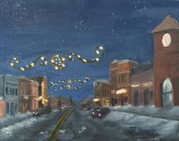 foley lights is an 8 inch by 10 inch original oil painting on canvas of
