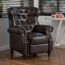 astounding com waldo brown leather recliner club chair