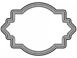 縦線ラベル風白黒デザイン飾り枠フレームイラスト 無料イラスト