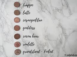 makeup geek collection review swatches emilyloula frappe latte cosmopolitan dess cocoa bear roulette grandstand