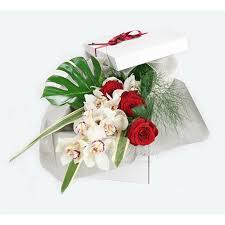 red roses white orchid gift box