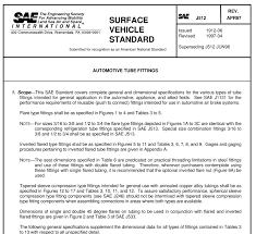 Sae J512 Flare Tube Fittings Chart Standard Knowledge