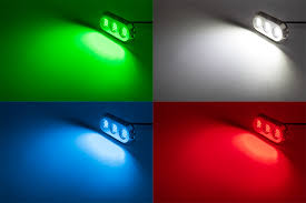led underwater boat lights and dock lights triple lens 180w shown on in green white red and blue