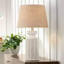 Helene Country Cottage Table Lamp Ceramic Rustic Cream White Glaze