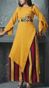 Stylish Plazo Kurti Design Beautiful Cotton Asymmetric Kurti With Plazo And Detailing