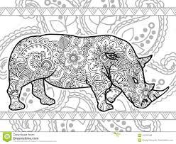 Zentangle Adulto Animal Dibujado Mano Blanco Y Negro De La P Gina