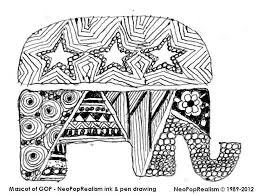 election gop s mascot gr 9 12 adapt 3 5 6 8 neopoprealism ink pen pattern drawing