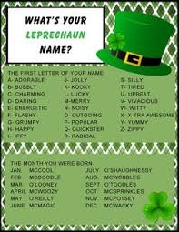 What Is Your Leprechaun Name Chart 9 Best Leprechaun Names Images Leprechaun Names