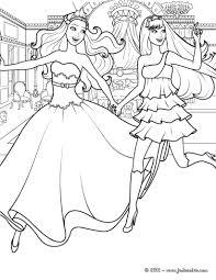 Coloriage Barbie Princesse Et Son Amie Popstar Qui Cours