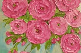 impasto rose fl oil painting pink rose painting original painting kenzie s cottage