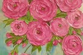impasto rose fl oil painting pink rose painting original painting kenzie s cottage