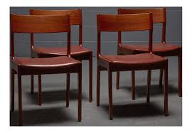 danish teak leather dining chairs set