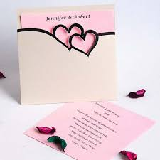 Heart Design Wedding Invitations Romantic Pink And Black Double