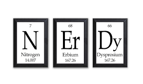 Nerdy Periodic Table Framed 3 Piece Wall Plaque Set Each Plaque 5 ...