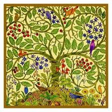 Flower Chart Voysey Art Nouveau Birds Tree Flowers Nature Counted Cross Stitch Chart
