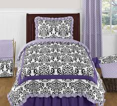 lavender purple black and white sloane 4pc twin girls bedding set by sweet jojo designs only 48 99