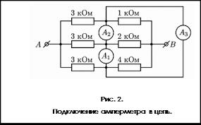 Реферат Измерение параметров электрических цепей  с пределами измерения прибора В электрическую цепь амперметр включается последовательно с тем участком электрической цепи рис 2 силу тока в котором