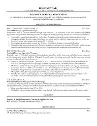 Sample Resume For Food And Beverage Supervisor Gallery