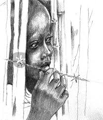 """Protect Our Children"""" Series - War Refugee"""" Drawing art prints and posters  by Priscilla Tang - ARTFLAKES.COM"""